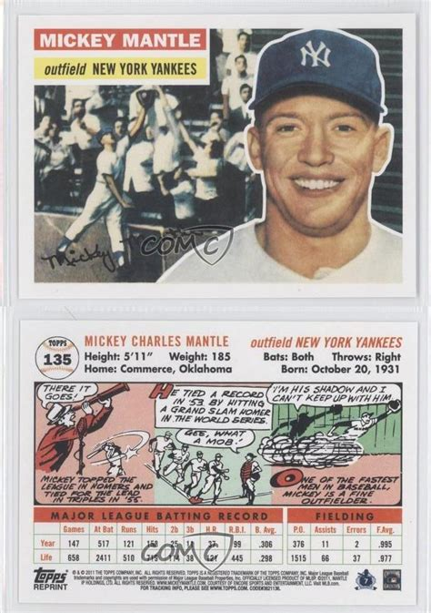 back of topps 85 baseball card template 2011 topps 60 years of original back 135 2 mickey mantle