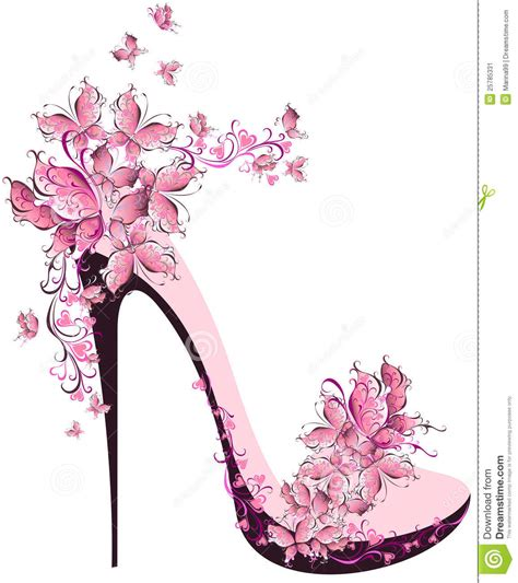 high heel decorated with butterflies stock image image