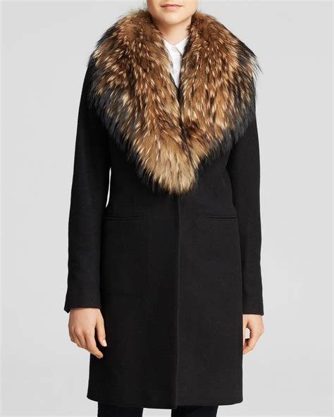 Fur Trim by Sam Crosby Wool Coat With Fur Trim In Black Lyst