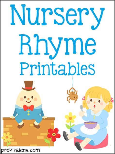printable nursery rhymes nursery rhymes worksheets for kindergarten student