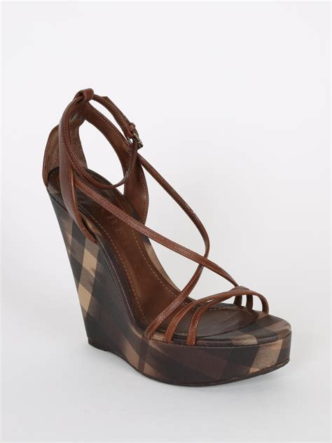 Wedges Wanita Wedges Perempuan 38 burberry brown check platform wedge strappy sandals 38 luxury bags