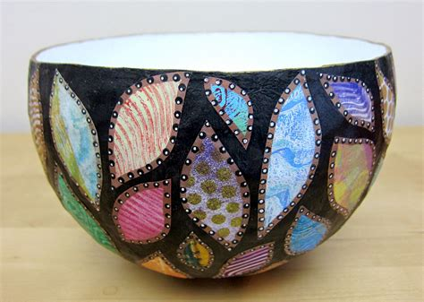 How To Make Paper Mache Bowls - printing with gelli arts 174 paper mache bowls with gelli