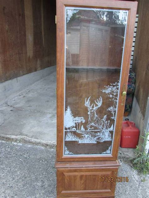 wood gun cabinet with etched glass furniture tool box household weights tools more k bid