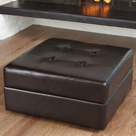 genuine leather storage ottoman 36 top brown leather ottoman coffee tables