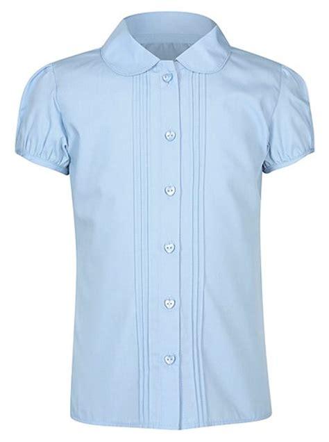 school sleeve pintuck blouse light blue