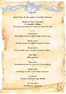 menu mariage medieval