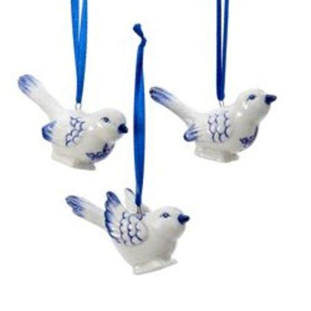 christmas ornaments delft blue and white club pack of 24 white and blue delft porcelain bird ornaments 2 quot walmart