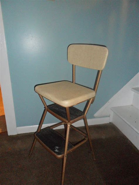 Kitchen Step Stool Chair by Vintage Cosco Beige Kitchen Step Stool Chair By