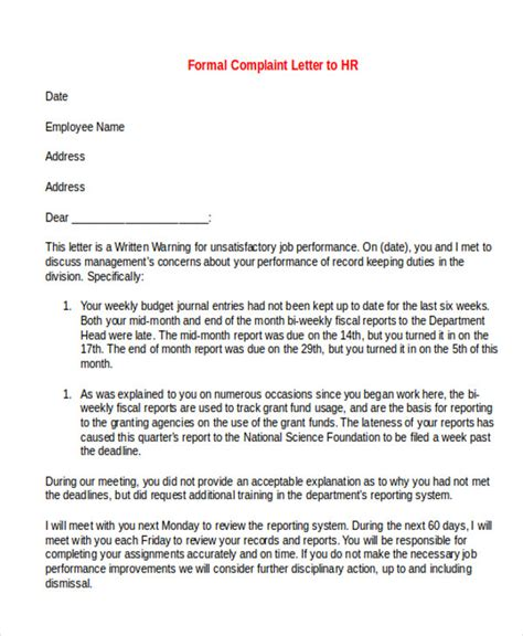 Complaint Letter Hr Manager Sle Formal Complaint Letter 7 Exles In Word Pdf