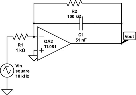 integrator circuit formula op op integrator response to square wave electrical engineering stack exchange