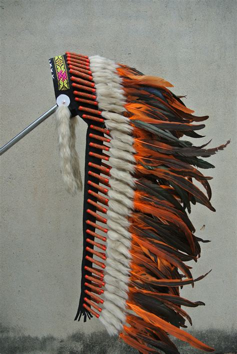 Handmade Indian Headdress - 36inch orange indian feather headdress handmade indian war