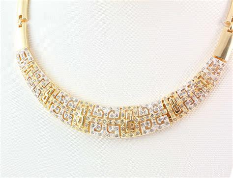 costume gold necklace fashion rhinestone gold