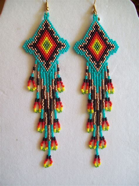 beadwork brincos beaded turquoise firey sunburst earrings