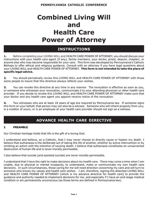 Download Pennsylvania Combined Living Will And Health Care Power Of Attorney Form For Free Will Template Pa
