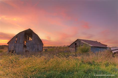barn at sunset in iowa photograph scenic landscape