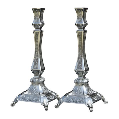 cheap shabbat candlesticks silver shabbat candle sticks with floral pattern and wheat sheaves