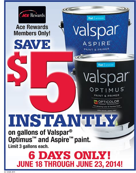 save 5 instantly on gallons of valspar optimus and aspire paint sneade s ace home centers