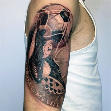soccer tattoo goal with shoes and soccerball mens themed half sleeve