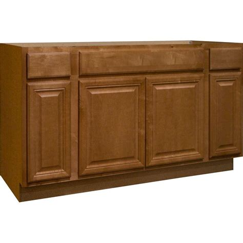 sink base kitchen cabinet hton bay 60x34 5x24 in cambria sink base cabinet in harvest ksb60 chr the home depot