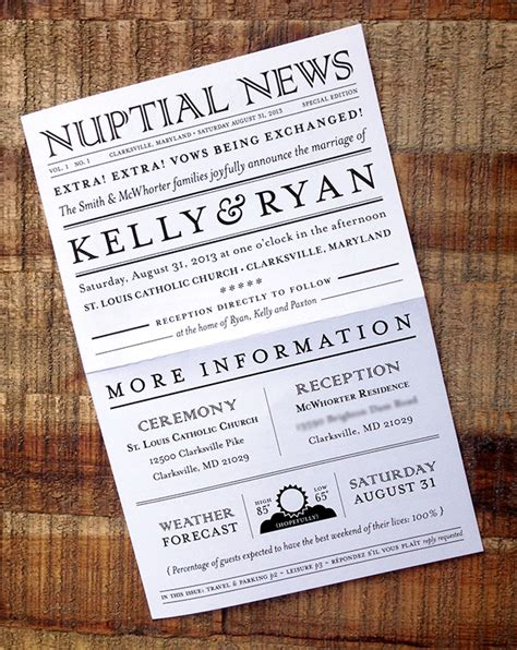 newspaper themed wedding invitation summer in maryland newspaper wedding invitation suite on