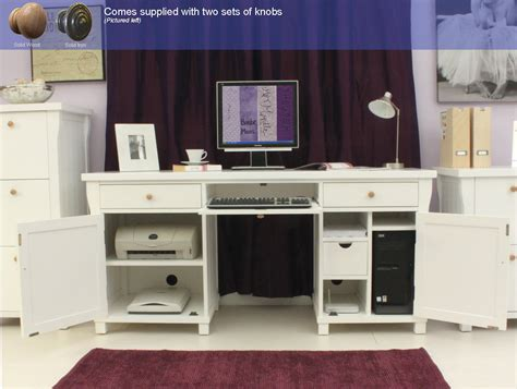 New England White Painted Furniture Large Hideaway Office White Hideaway Computer Desk