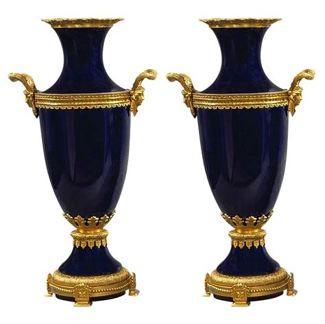 Three Vase Centerpiece by Three Cobalt Blue Porcelain And Bronze Vase And