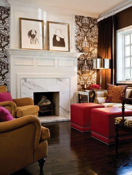 wallpaper accent wall living room trends in wallpaper accent walls bossy color elliott interior design