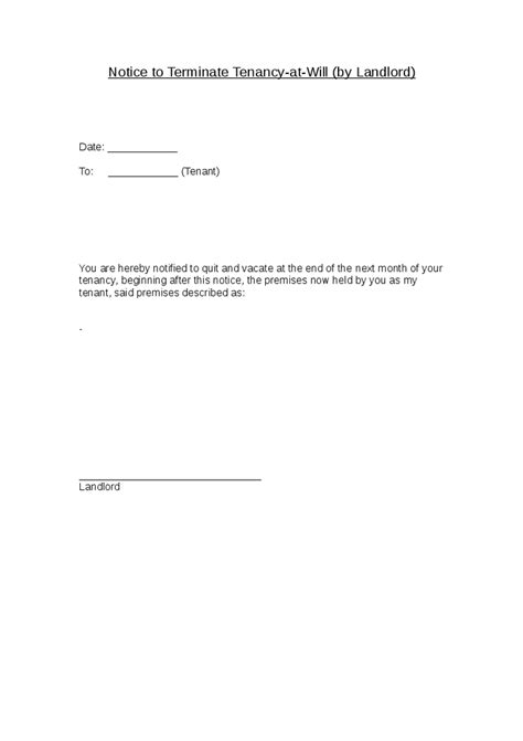 Ending Tenancy Letter From Landlord Notice To Terminate Tenancy At Will By Landlord Hashdoc