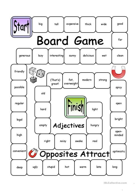 board opposites attract adjectives worksheet