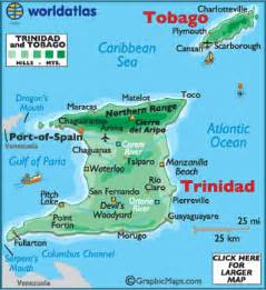 Where Is Trinidad And Tobago Located On The World Map by Trinidad And Tobago Map Geography Of Trinidad And Tobago