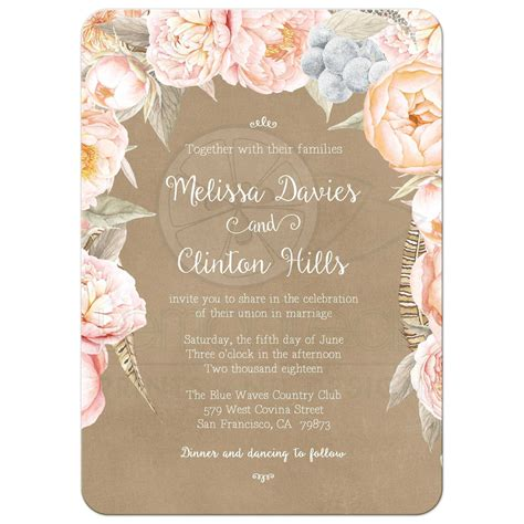 Floral Paper Wedding Invitations by Pink Vintage Floral Peony Border Wedding Invitation Kraft