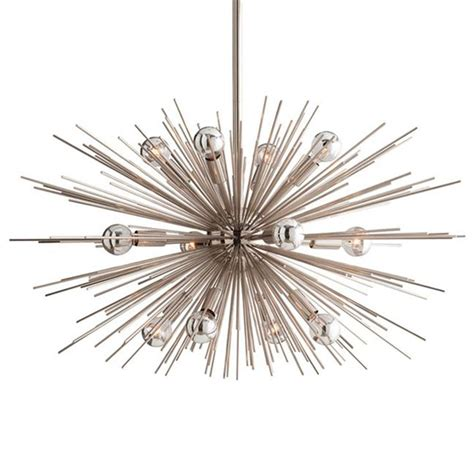 Arteriors Zanadoo Chandelier Sunburst Polished Nickel Modern Industrial Sputnik Chandelier 29d Kathy Kuo Home