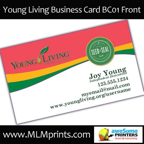 home page oily cards young living business cards