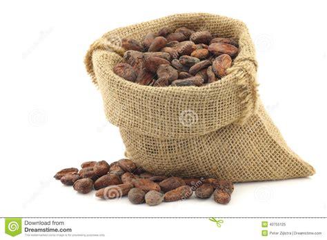 Sac Jute Cacao by Graines De Cacao Dans Un Sac De Toile De Jute Photo Stock