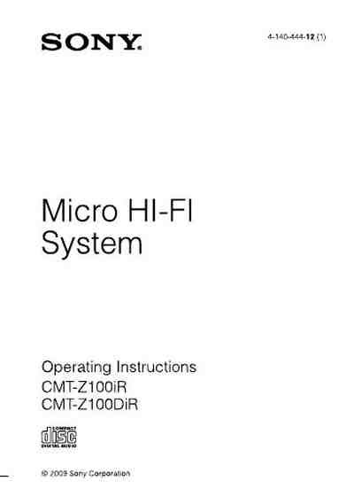 SONY CMT Z100IR HiFi system download manual for free now