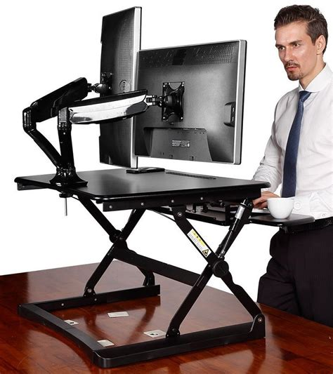 stand up desk platform desktop workstation combo 35 wide platform height
