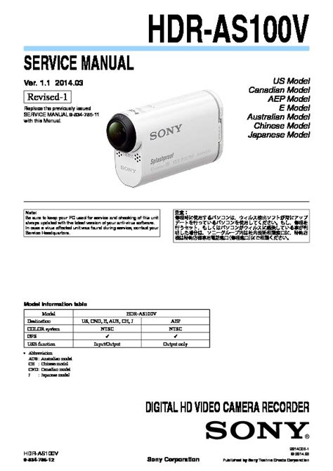 Sony Hdr As10 sony hdr as10 hdr as15 service manual free