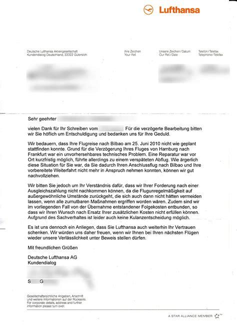 Musterbrief Beschwerde Antwort Muss Lufthansa Entsch 228 Digung Taxi Hotel Und Telefonkosten Bezahlen Fluggastrechte Eu