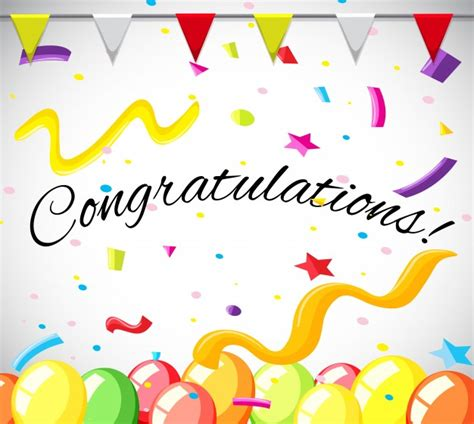 congratulations greeting card template congratulation card template with colorful balloons vector