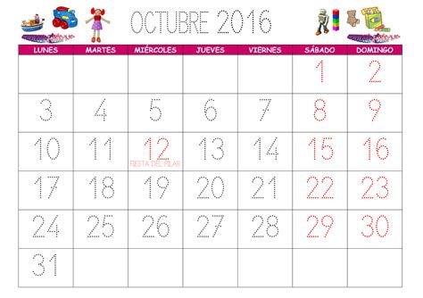 Calendario De Octubre Calendario Octubre 2016