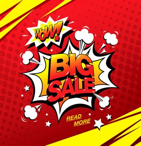 Cartoon style big sale template design vector 02   Vector