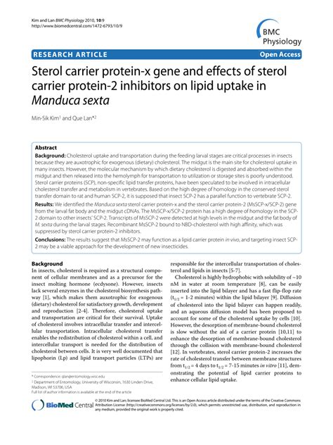 d protein x sterol carrier protein x gene and effects of sterol