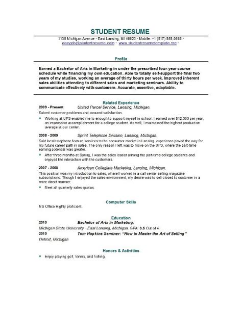 sample resume for college student fresh sample resume for college