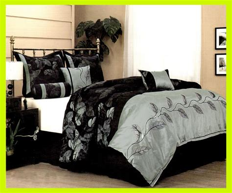 black satin comforter queen 7 pcs leaf vine satin bed in a bag bedding comforter set