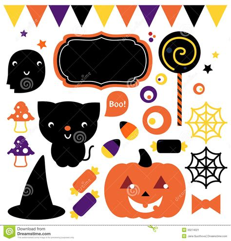cute elements design vector set halloween party set stock vector image of draw