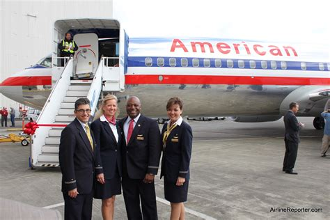 cabin crew in airlines delivery flight american airlines welcomes boeing