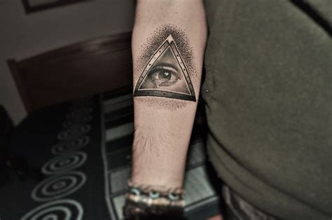 eye triangle tattoo on forearm tattooshunt com