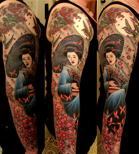 tattooed asian japanese japanese traditional cherry blossom