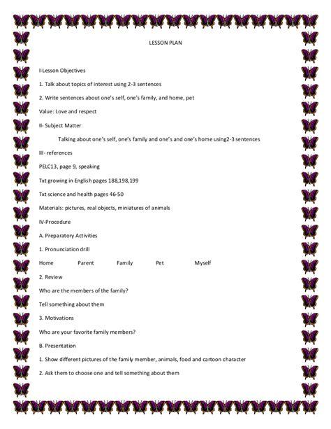design brief sentence lesson plan in english 1