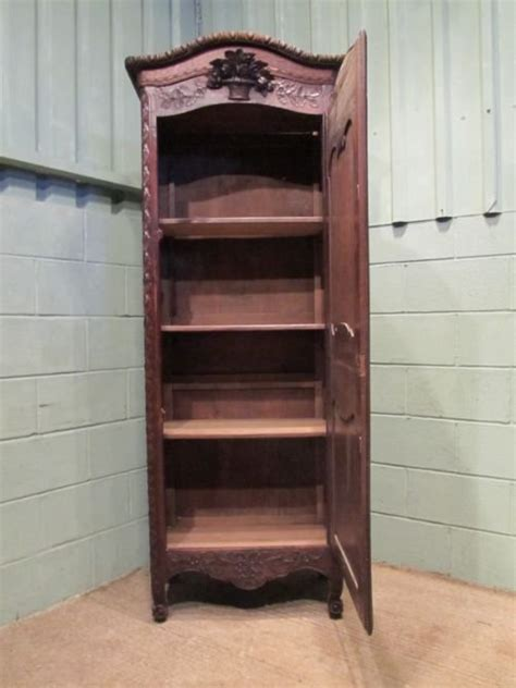 antique 19th century narrow oak armoire linen press